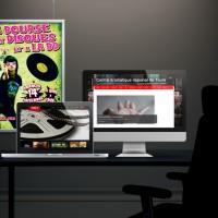 bureau, job, ordinateur, tablette, poster